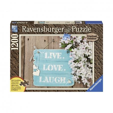 Пазл с деревянным покрытием Живи, люби, смейся, 1200 деталей