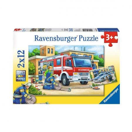Пазл 2 в 1 Полицейские и пожарные, 2х12 деталей