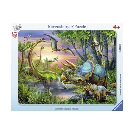 Пазл в рамке Динозавры на рассвете, 45 деталей