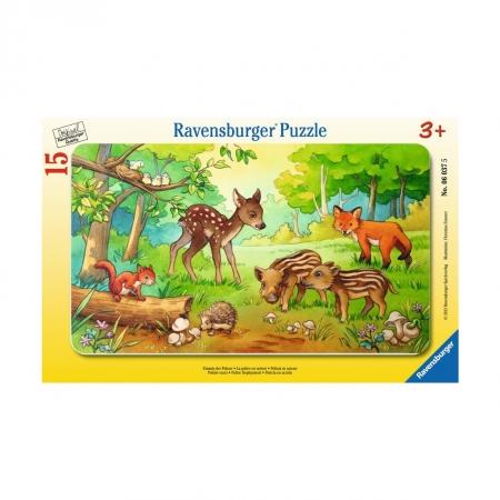 Пазл в рамке Детеныши животных в лесу, 15 деталей