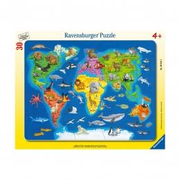 Пазл Карта мира с животными, 30 деталей